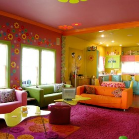 full modern hippies colorful beach interior paint design